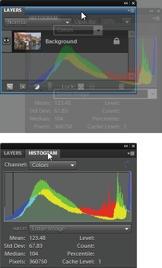 You can combine two or more panels once you've dragged them out of the Panel bin.Top: Here, the Histogram panel is being pulled into, and combined with, the Layers panel. To combine panels, drag one of them (by clicking on the panel's name tab) onto the other panel. When the moving panel becomes ghosted and you see the blue outline shown here, they'll combine as soon as you let go of your mouse button. (You can also make a vertical panel group—where one panel appears above another—by letting go when you see a blue line at the bottom of the of the host panel, instead of an outline all the way around it as shown here.)Bottom: To switch from one panel to another after they're grouped, just click the tab of the one you want to use. To remove a panel from a group, simply drag it out of the group. If you want to return everything to how it looked when you first launched Elements, click Reset Panels (not visible here) at the top of your screen.