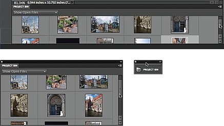 The Project bin, which runs across the bottom of the Editor's screen, holds a thumbnail of every photo you have open, as well as photos you've sent over from the Organizer that are waiting to be opened. Here you see the bin three ways: as it normally appears (top), as a floating panel (bottom left), and collapsed to an icon (bottom right). You can also click the Close button (in Windows, that's the X at its upper right; on a Mac, it's the dot at its upper left), or right-click its tab and then choose Close to hide it completely. To bring it back, go to Window→Project bin.