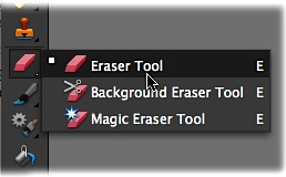 Like any good toolbox, Elements' Tools panel has lots of hidden drawers tucked away in it. Many Elements tools are actually groups of tools, which are represented by tiny black triangles on the lower-right side of the tool's icon (you can see several of these triangles here). Right-clicking or holding the mouse button down when you click the icon reveals the hidden subtools. The white square to the left of the Eraser tool's icon here indicates that it's the active tool right now.