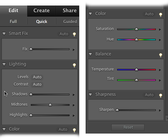 Here are all the ways you can enhance your photos with Quick Fix. The left figure shows the top part of the Panel bin; the right, the bottom part. Besides these handy tools, you can also use most of the Full Edit menu commands if you need something more than the Panel bin provides.