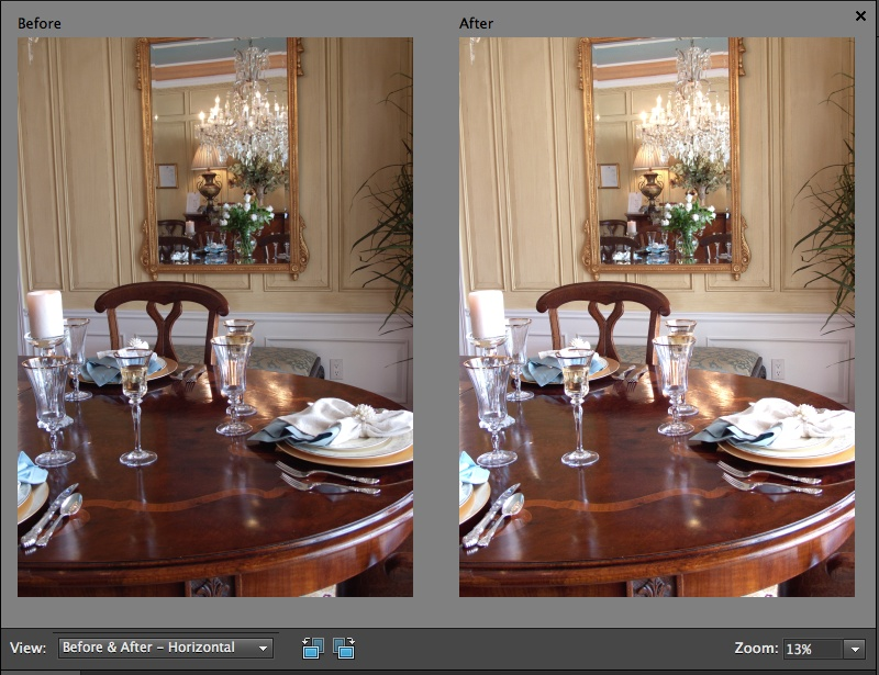 "The Quick Fix window's before-and-after views make it easy to see how you're changing your photo. Here you see ""Before and After - Horizontal,"" which displays the views side by side. To see them one above the other, choose ""Before and After - Vertical"" instead. If you want a more detailed view, use the Zoom tool to focus on just a portion of your picture."