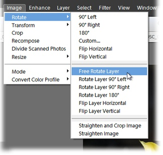 "In a Missing Manual, when you see a phrase like ""Image→Rotate→Free Rotate Layer,"" that's a quicker way of saying, ""Go to the menu bar, click Image, slide down to Rotate, and then, from the pop-up menu, choose Free Rotate Layer."""