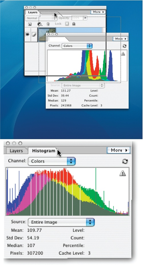 "You can combine two or more palettes together once you've dragged them out of the bin.Top: The Histogram palette is being pulled into, and combined with, the Layers palette. (Note that as you drag a palette, its name temporarily disappears.) To combine palettes, drag one of them (by clicking on the palette's name tab) and drop it onto the other palette (notice the dark black border that appears on the Layers palette, signaling it's ""ready"" to accept the Histogram palette).Bottom: To switch from one palette to another after they're grouped, just click the tab of the one you want to use. To remove a palette from a group, just drag it off the palette window. If you want to return everything to how it looked when you first launched Elements, go to Window → Reset Palette Locations."
