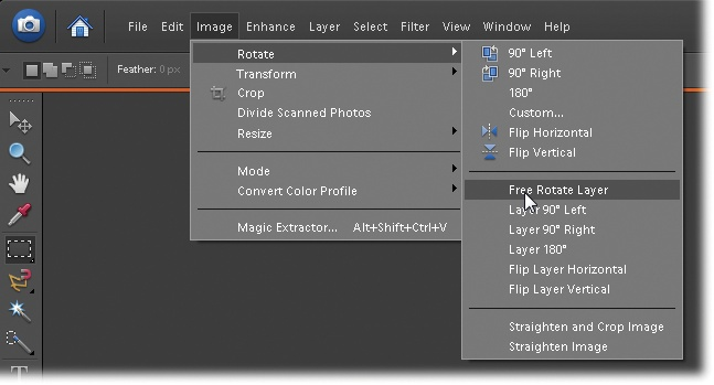 "In a Missing Manual, when you see ""Image → Rotate → Free Rotate Layer,"" that's a quicker way of saying ""Go to the menu bar and click Image, and then slide down to Rotate and choose Free Rotate Layer from the pop-up menu."""