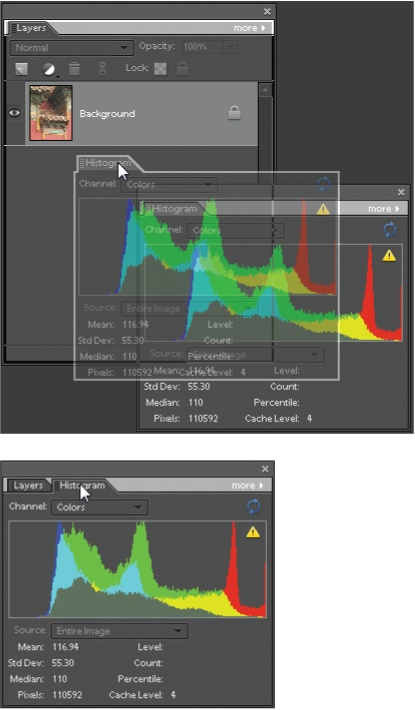 "You can combine two or more palettes once you've dragged them out of the bin.Top: The Histogram palette is being pulled into, and combined with, the Layers palette. To combine palettes, drag one of them (by clicking on the palette's name bar) and drop it onto the other palette (notice the white line that appears on the top edge of the Layers palette, signaling it's ""ready"" to accept the Histogram palette).Bottom: To switch from one palette to another after they're grouped, just click the tab of the one you want to use. To remove a palette from a group, simply drag it off the palette window. If you want to return everything to how it looked when you first launched Elements, go to Window → Reset Palette Locations."