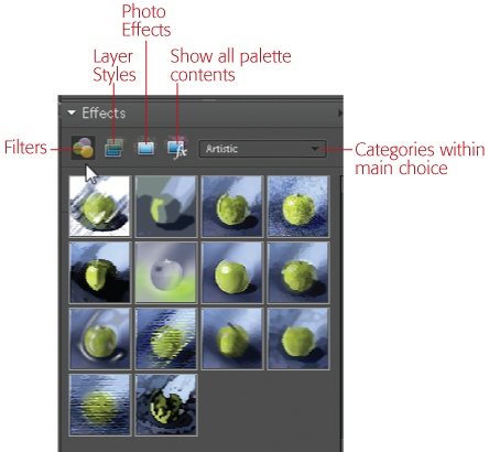 Use these buttons to choose what you see in the Effects palette: Filters, Layer Styles, Photo Effects, or all three