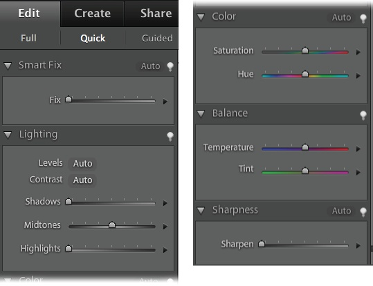 A close-up look at all the ways you can enhance your photos with Quick Fix. The left figure shows the top part of the Panel bin; the right, the bottom part. Besides these handy tools, you can also use most of the Full Edit menu commands if you need something more than the Panel bin provides.