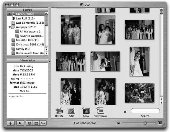 iPhoto showing pictures from my wedding