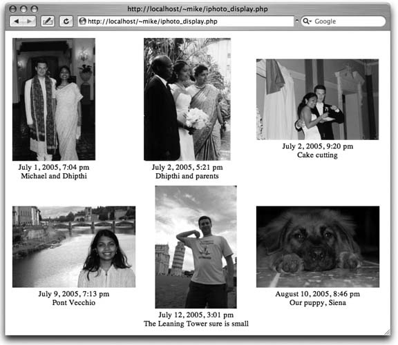 iPhoto wedding photos in my browser