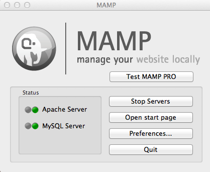 This control panel is MAMP's home base. You can start and stop software components and make all your configuration changes here. While you're getting your PHP feet wet, you may want to move the MAMP icon into your dock; you'll be using it a ton.