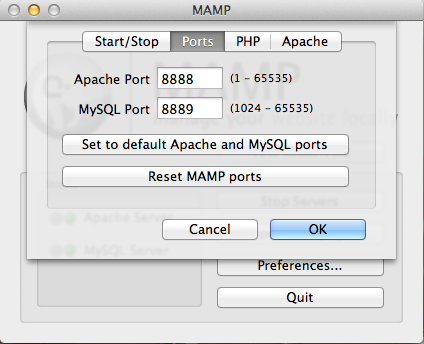 MAMP lets you change both the port that Apache (the web server) runs on, as well as the port that MySQL runs on. Be especially careful with the MySQL port. Most programs that use MySQL will need to be updated to the value you use here.