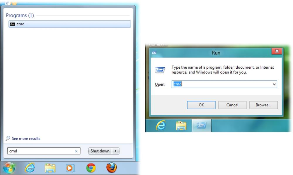 In Windows 7 (left) and earlier, you can get to the command line via the Start menu. Since Windows 8 doesn't have a Start menu, just go to the Start screen and press Windows key+R. That opens the Run box where you can type cmd.