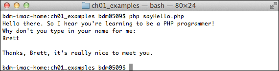 Eventually, you'll run most of your PHP scripts through a web browser. For now, though, the command line lets you take control of the php command and give it a particular script to run so that you can see the output on the command line.
