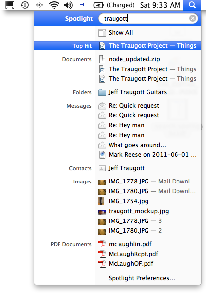 Spotlight in Mac OS X tries to relate files in different places by their name, the folder they're in, or their content. In other words, Spotlight tries to determine the relationships between different files and folders.