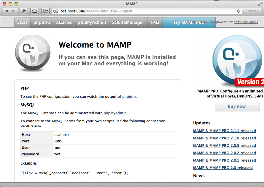 The MAMP start page is your first and best source for all things PHP, MySQL, and web server on your local installation of these programs. In this case, it displays the MySQL root password, which you'll need…a lot!