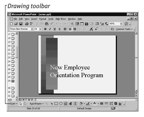 The Drawing toolbar appears near the bottom of the PowerPoint window.