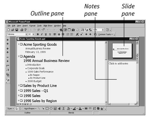 In Windows, Outline view has three panes; drag the pane borders to adjust the amount of space allocated to each area.