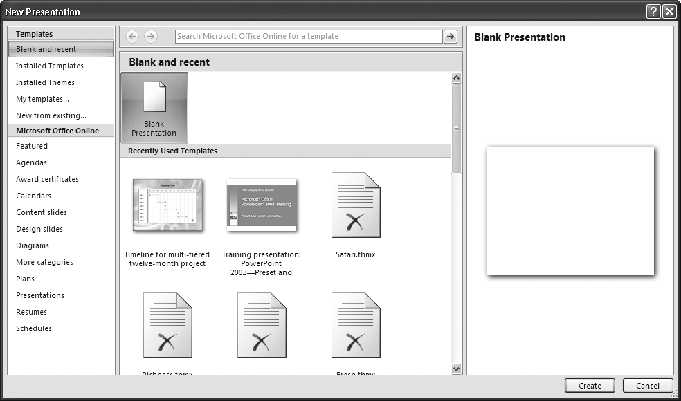 1 creating a basic presentation powerpoint 2007 the missing because folks typically want to create a new presentation either from scratch or based on a toneelgroepblik Image collections