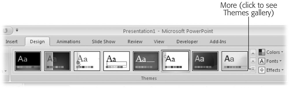 The Themes section of the Design ribbon contains just a snippet of the Themes gallery; to see more themes, you need to click the More icon.
