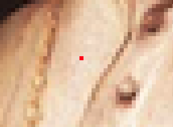 On the left—the image with the new red pixel; on the right—a zoomed view of the changed pixel