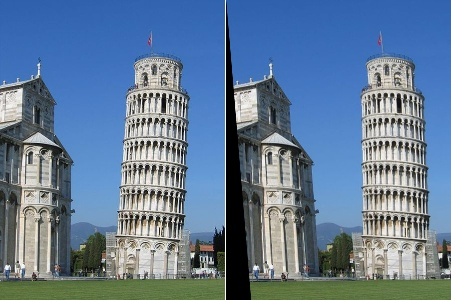Left: The original leaning tower; Right: The repaired version of the tower