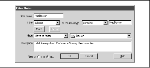 Mail filtering in Netscape Messenger