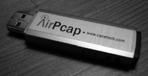 The AirPcap device is very compact, making it easy to tote along with a laptop