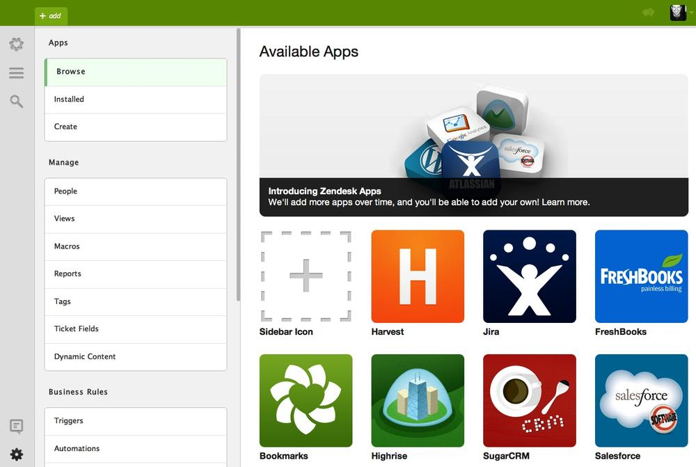 Administrator user interface, with the Apps administration page selected