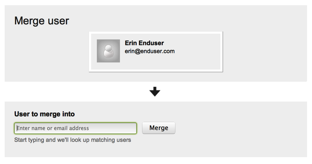 Screen to merge user accounts: source is on the top and target is on the bottom