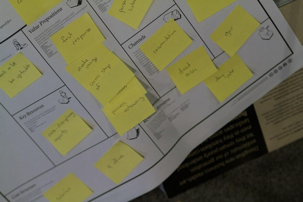 Sticky notes provide flexibility when we're capturing business ideas.