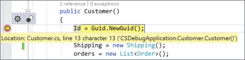 Illustration of breakpoint added to the constructor of the Customer class.