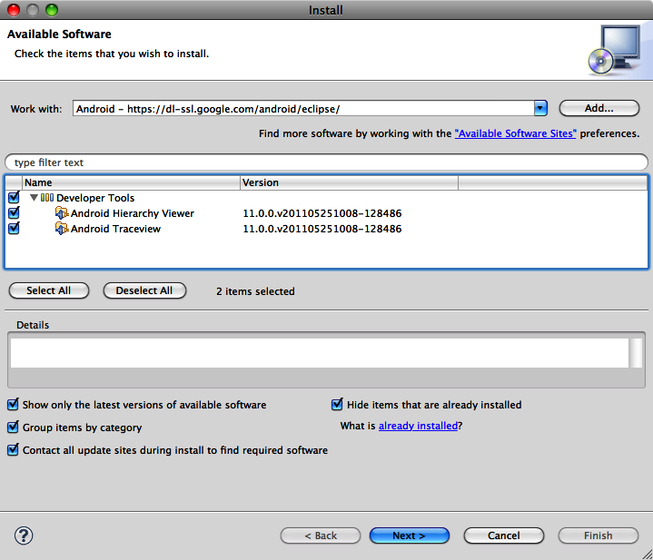 The Eclipse Install dialog with the Android Hierarchy Viewer plug-in shown as available