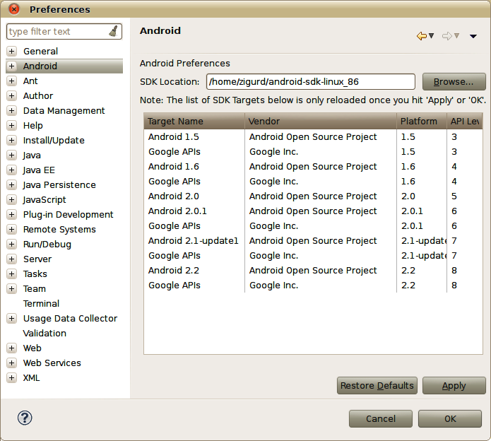 Configuring the SDK location into the Eclipse ADT plug-in using the Android Preferences dialog