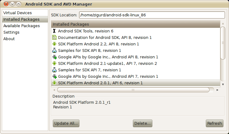 Updating the SDK with the SDK and AVD Manager