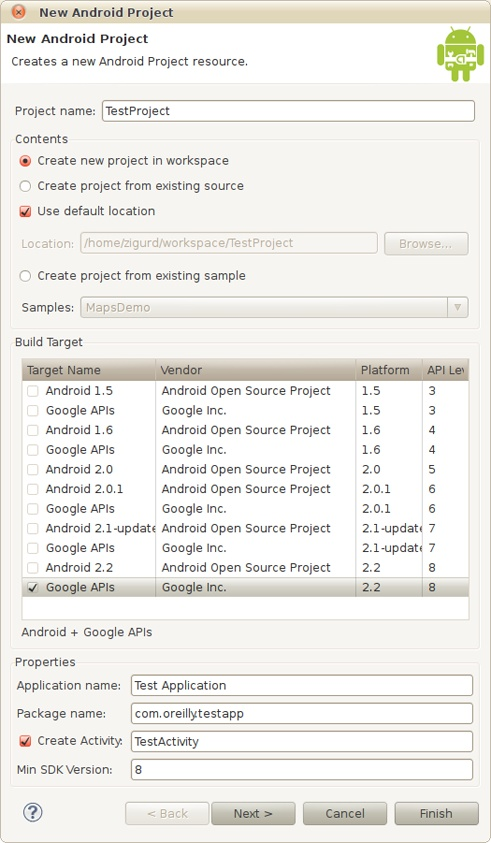 The New Android Project dialog