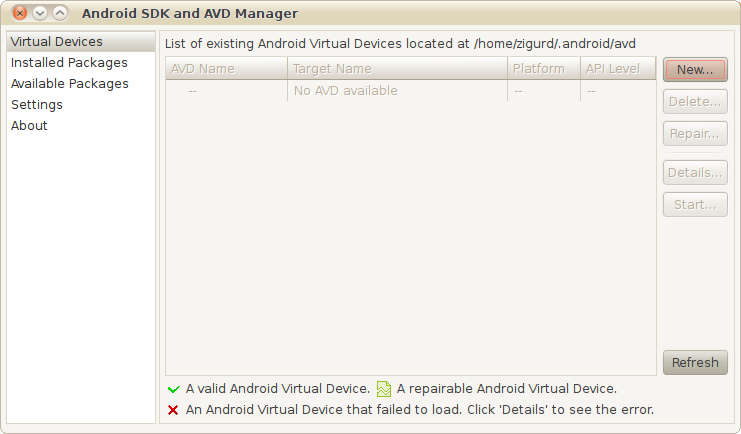The SDK and AVD Manager
