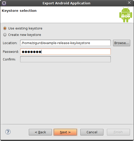 Selecting the keystore