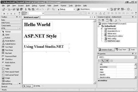 HTML labels in Visual Studio .NET