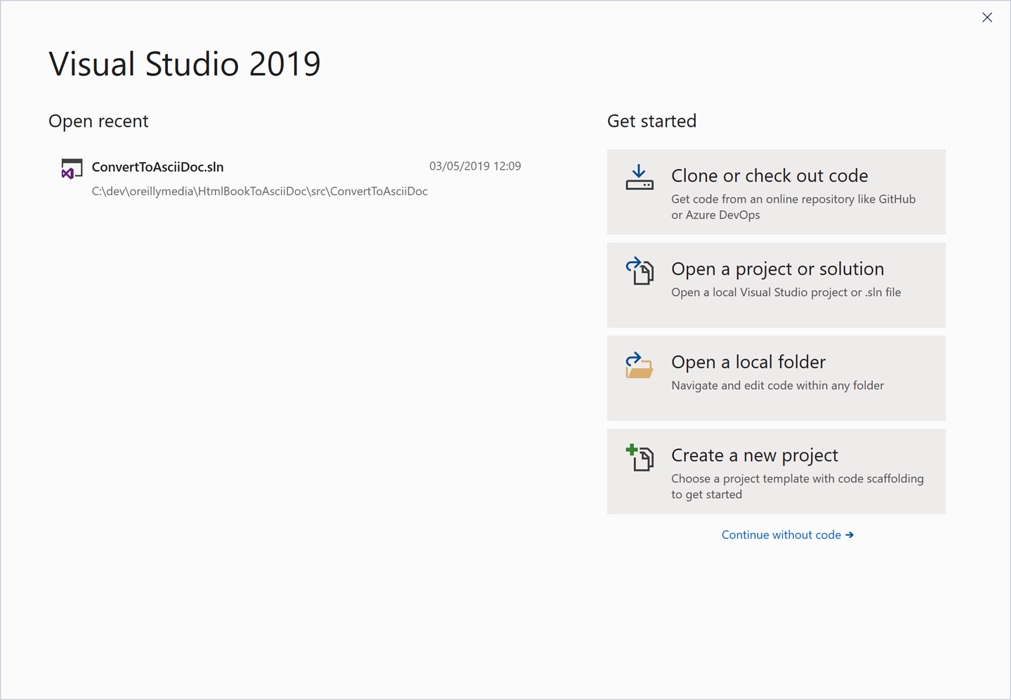 Visual Studio's Get started window