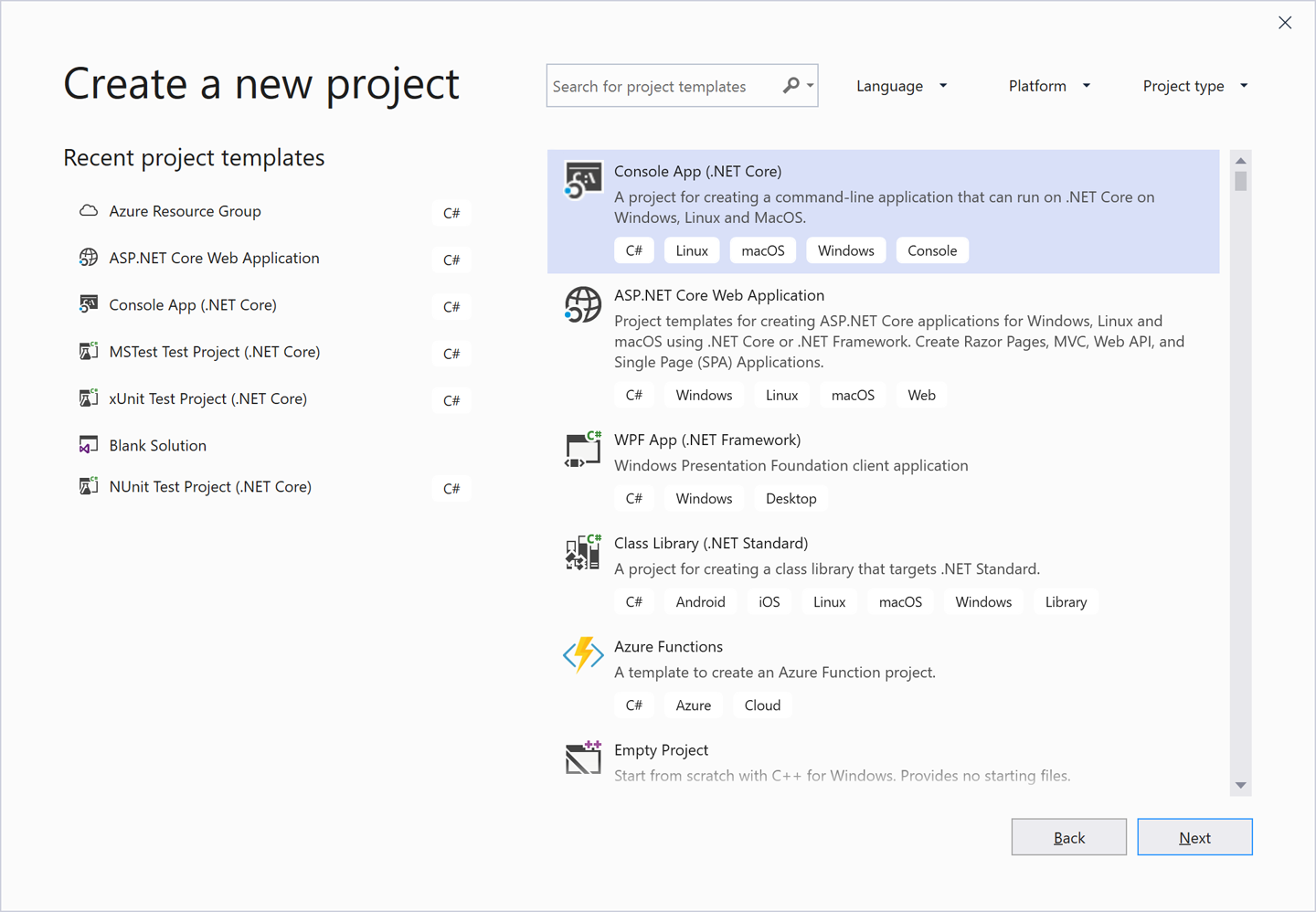 Visual Studio's Create a new project dialog