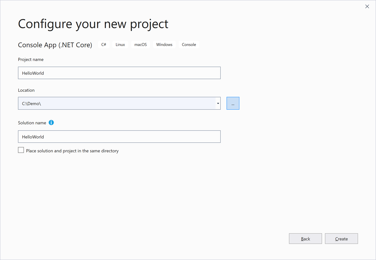 The Configure your new project dialog