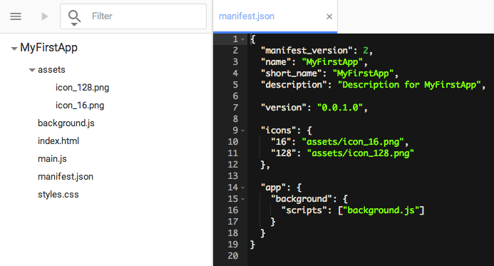 manifest.json as created with the Chrome Dev Editor