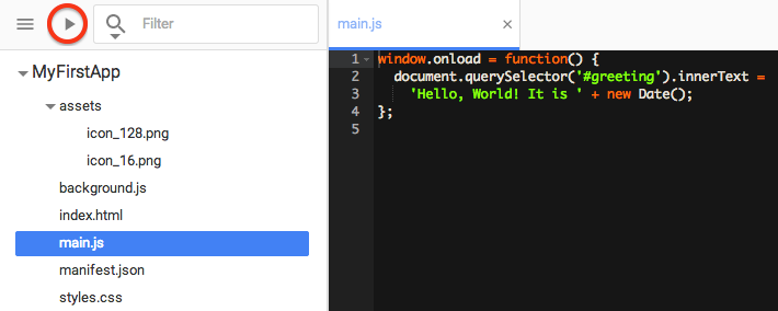 main.js as created with the Chrome Dev Editor