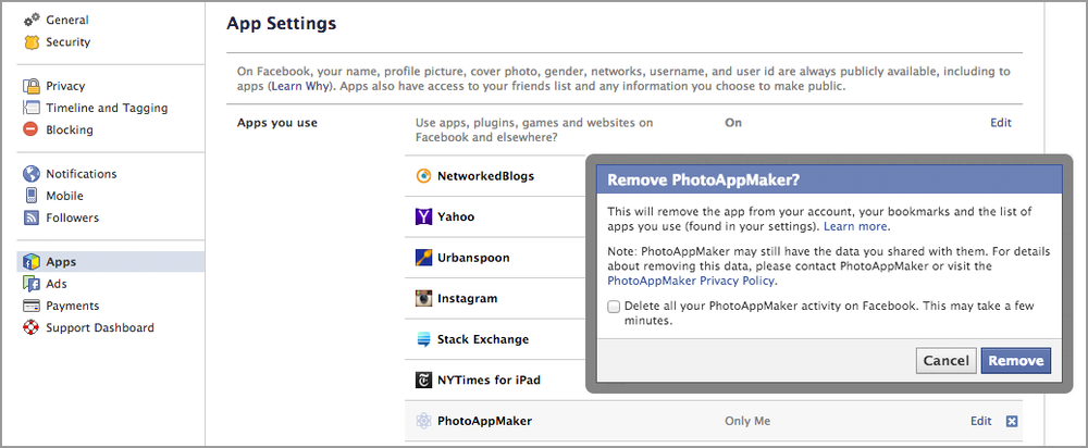 Revoking an app's Facebook authorization