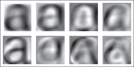 The mean image (top left) and the first seven modes; that is, the directions with most variation.