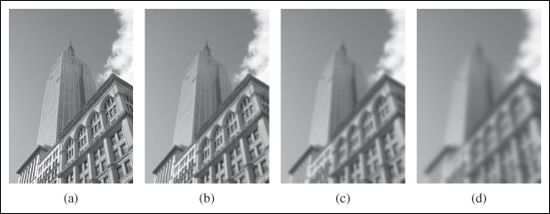 An example of Gaussian blurring using the scipy.ndimage.filters module: (a) original image in grayscale; (b) Gaussian filter with σ = 2; (c) with σ = 5; (d) with σ = 10.