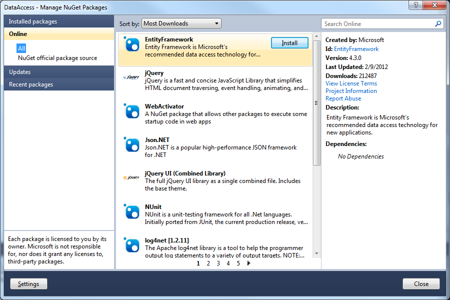 Getting EntityFramework.dll from the Library Package Manager