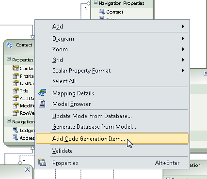 Adding a new T4 template code generation item from the model's context menu