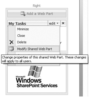 SharePoint Web Part modification.