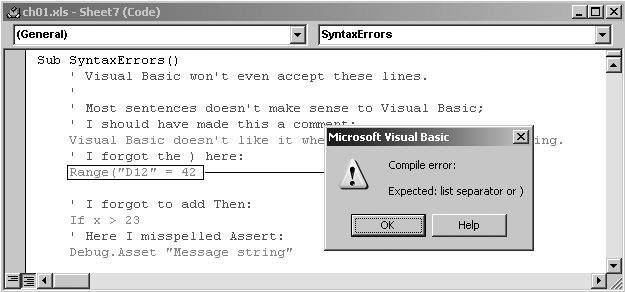 1 4 1  Fix Syntax Errors - Programming Excel with VBA and